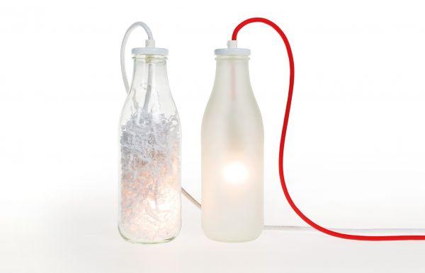 Flaschenlicht. Satiniertes oder Klarglas